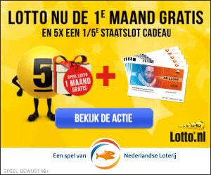 Speel Lotto 1e maand gratis + 5x 1/5e Staatslot cadeau