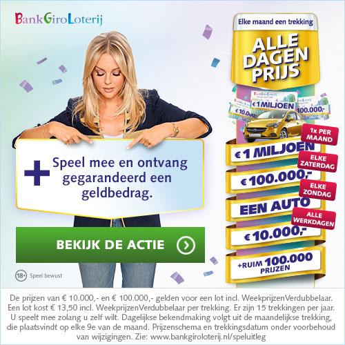 Speel mee in de BankGiro Loterij en ontvang gegarandeerd geld. Misschien wel € 30.000,-!