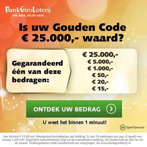 Is jouw Gouden Code € 25.000,- waard?