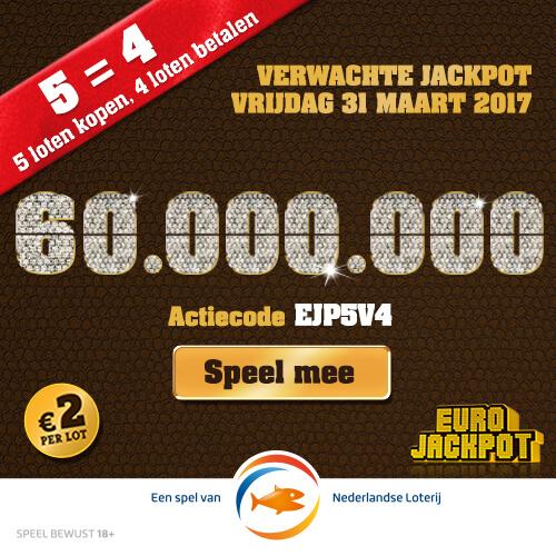 Eurojackpot : 5 loten kopen = 4 loten betalen