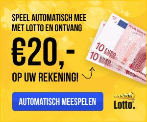 Speel automatisch mee met Lotto en ontvang € 20,- op je rekening