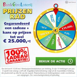 BankGiro Loterij Prijzenrad: Cadeau + kans op prijzen tot € 25.000,-