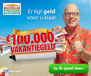 De Postcode Loterij verdeelt € 100.000,- aan vakantiegeld