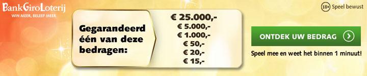 Ontvang gegarandeerd geld bij de BankGiro Loterij