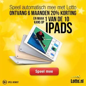 Speel automatisch mee met Lotto en maak kans op 1 van de 10 iPads + 6 maanden 20% korting