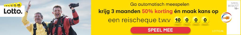 Ga automatisch meespelen met Lotto en ontvang 3 maanden 50% korting + Maak kans op een reischeque t.w.v. 10.000 euro