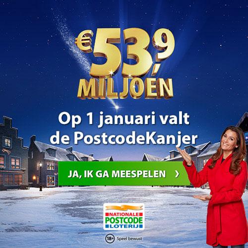 Op 1 januari 2018 valt de PostcodeKanjervan € 53,9 miljoen