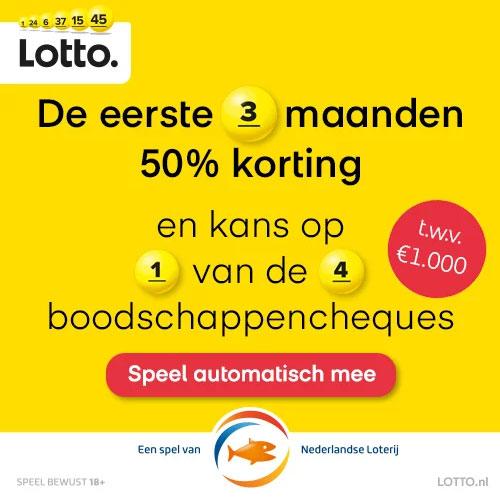 3 Maanden met 50% korting en kans op een boodschappen cheque t.w.v. € 1.000,-.