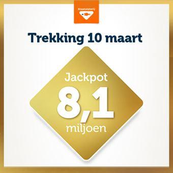 Staatsloterij Jackpot op 10 maart € 8,1 miljoen