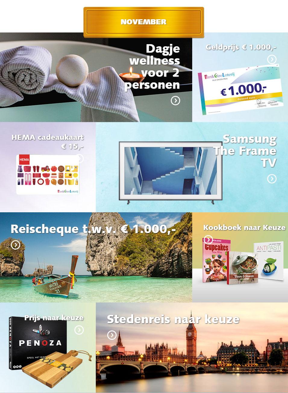 bankgiro loterij prijzen november 2018