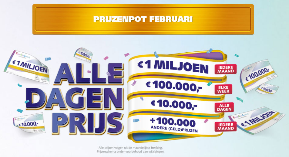 bankgiro loterij prijzenpot februari 2020