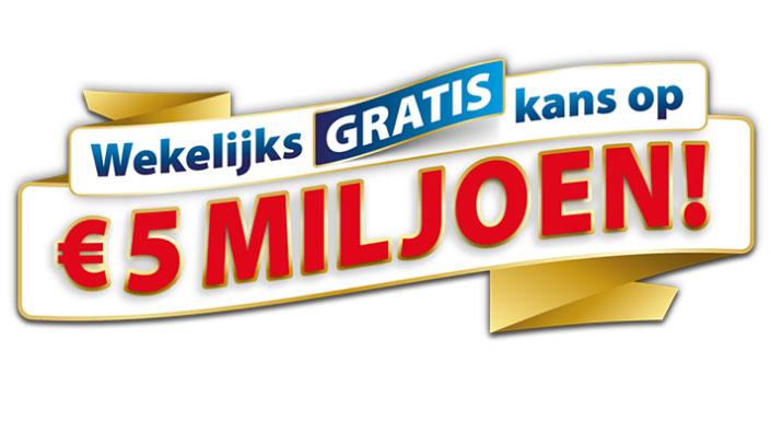 postcodeloterij gratis kans op 5 miljoen