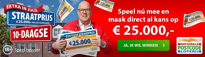 Postcode Loterij direct kans op € 25.000,-